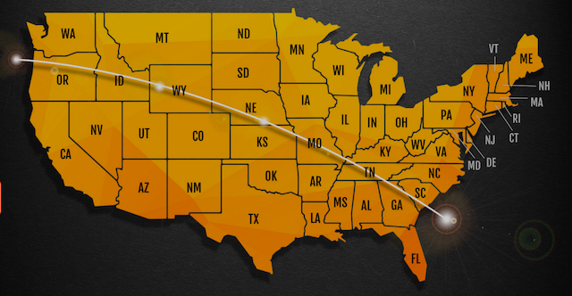 Path of the Total Solar Eclipse across the continental USA